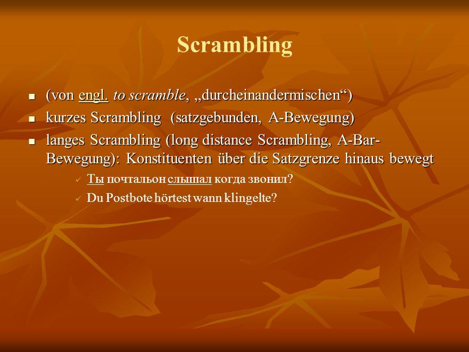 """Scrambling (von engl. to scramble, """"durcheinandermischen )"""