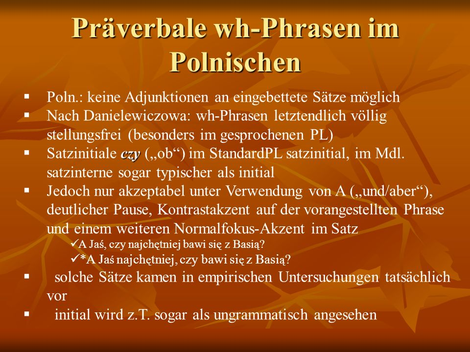 Präverbale wh-Phrasen im Polnischen