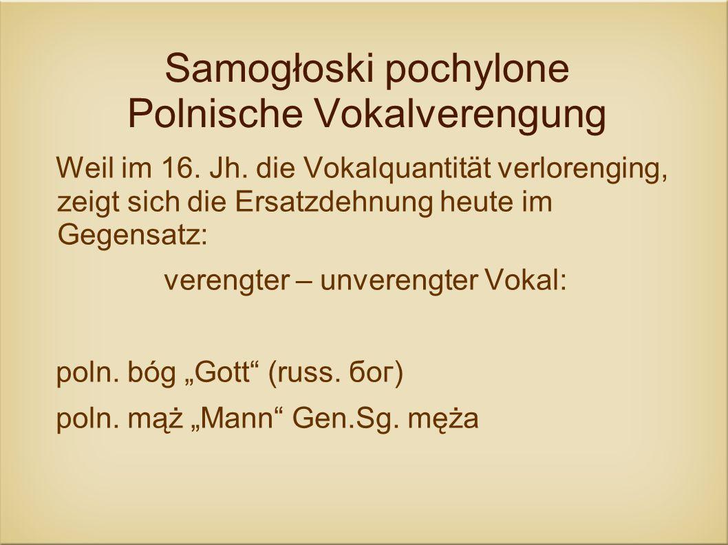 Samogłoski pochylone Polnische Vokalverengung