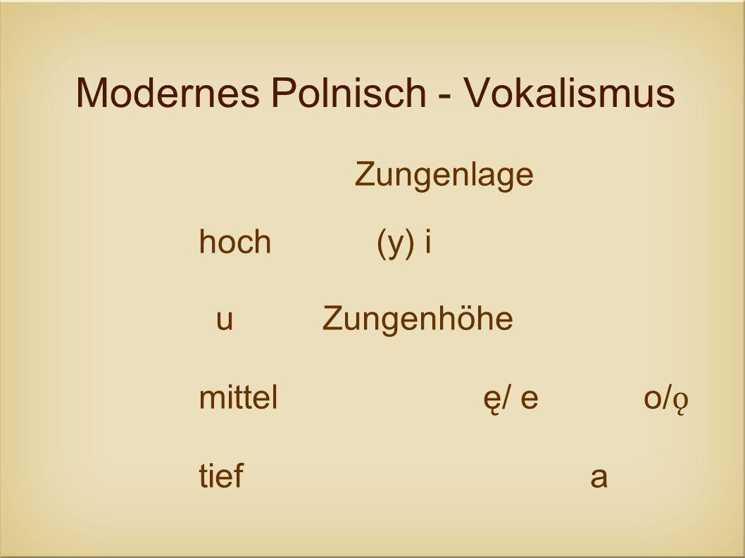 Modernes Polnisch - Vokalismus