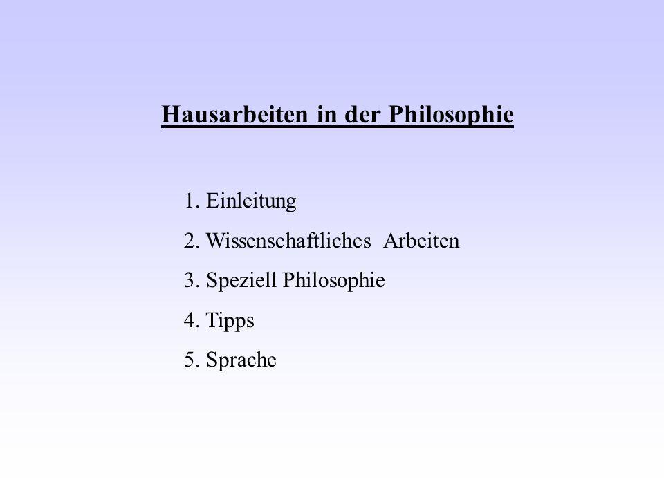 Hausarbeiten in der Philosophie