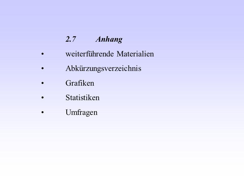 2.7 Anhang weiterführende Materialien Abkürzungsverzeichnis Grafiken Statistiken Umfragen