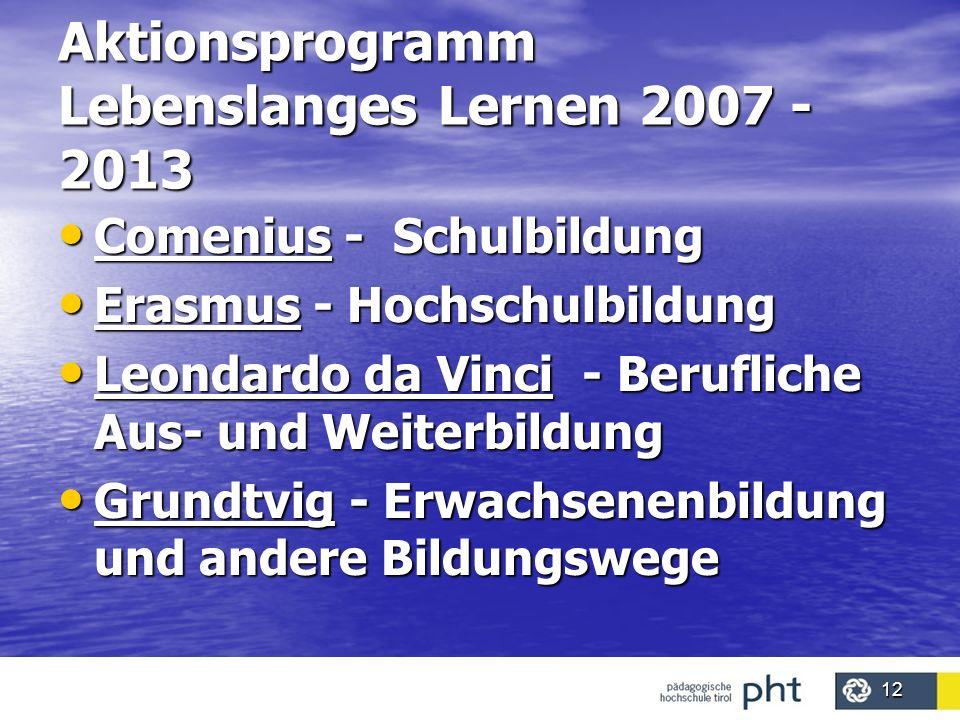 Aktionsprogramm Lebenslanges Lernen 2007 - 2013