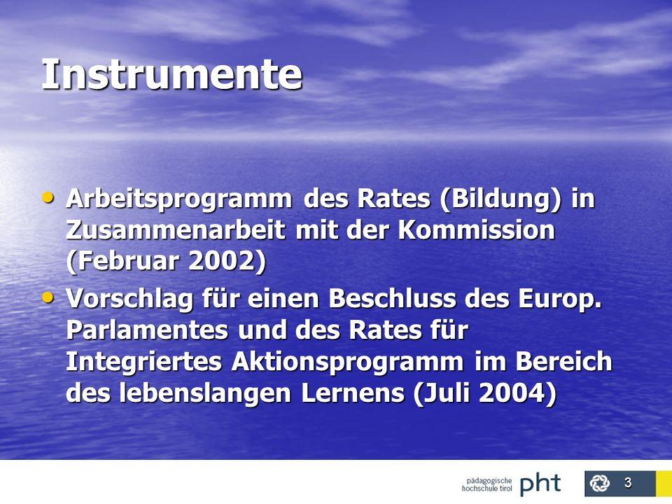 Instrumente Arbeitsprogramm des Rates (Bildung) in Zusammenarbeit mit der Kommission (Februar 2002)