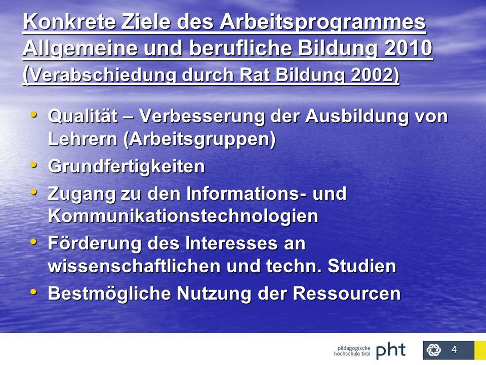 Konkrete Ziele des Arbeitsprogrammes Allgemeine und berufliche Bildung 2010 (Verabschiedung durch Rat Bildung 2002)