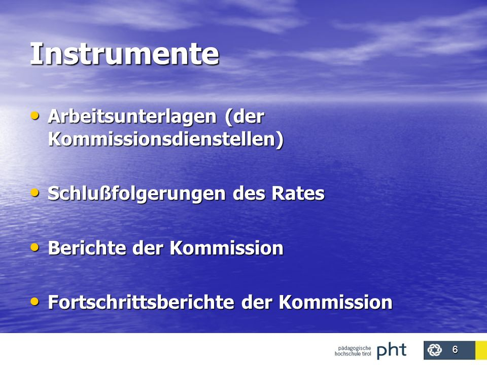 Instrumente Arbeitsunterlagen (der Kommissionsdienstellen)