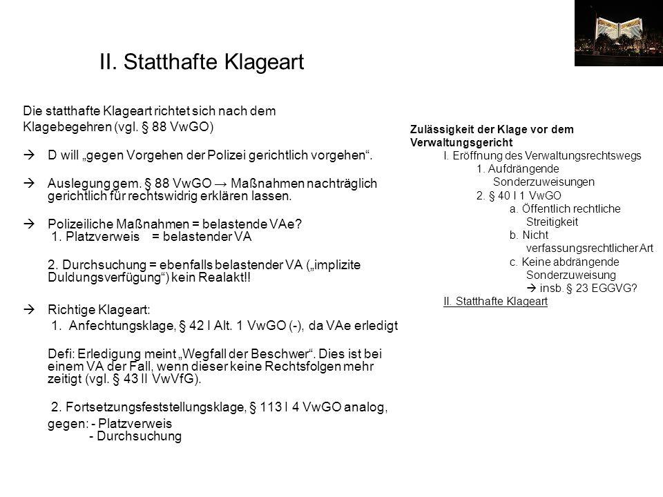 II. Statthafte Klageart