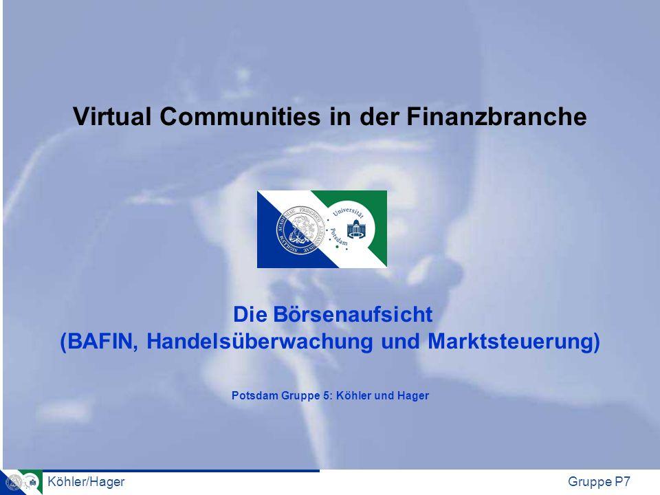 Virtual Communities in der Finanzbranche Die Börsenaufsicht (BAFIN, Handelsüberwachung und Marktsteuerung) Potsdam Gruppe 5: Köhler und Hager