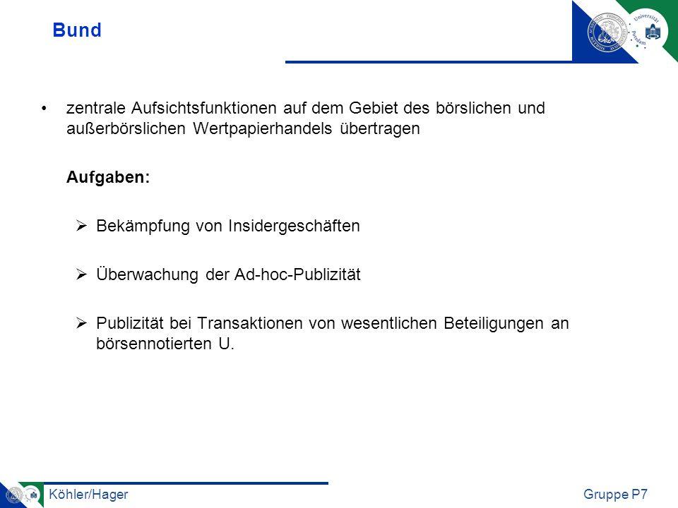 Bund zentrale Aufsichtsfunktionen auf dem Gebiet des börslichen und außerbörslichen Wertpapierhandels übertragen.