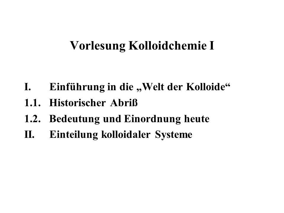 Vorlesung Kolloidchemie I