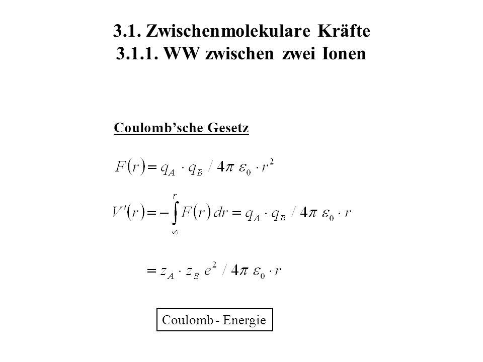 3.1. Zwischenmolekulare Kräfte 3.1.1. WW zwischen zwei Ionen