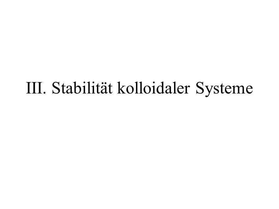 III. Stabilität kolloidaler Systeme