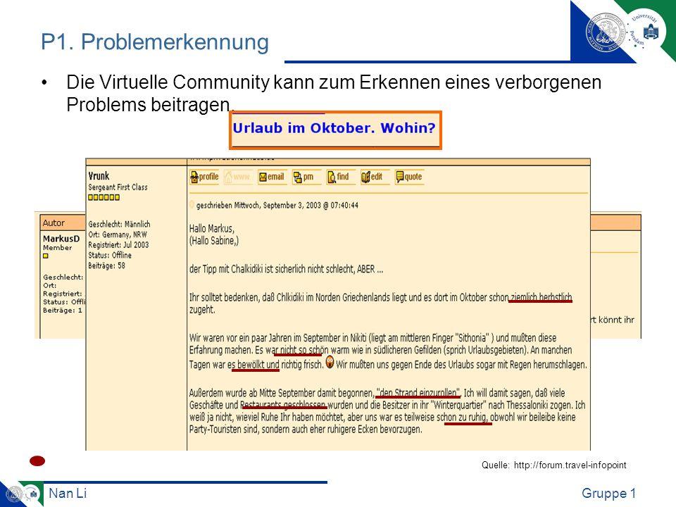 P1. Problemerkennung Die Virtuelle Community kann zum Erkennen eines verborgenen Problems beitragen.
