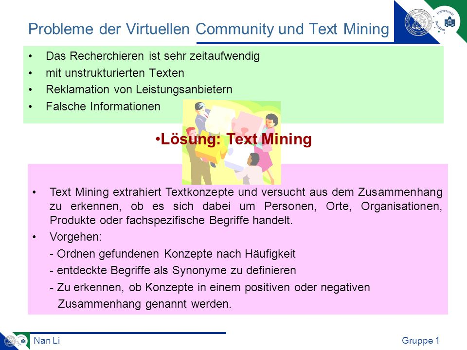 Probleme der Virtuellen Community und Text Mining
