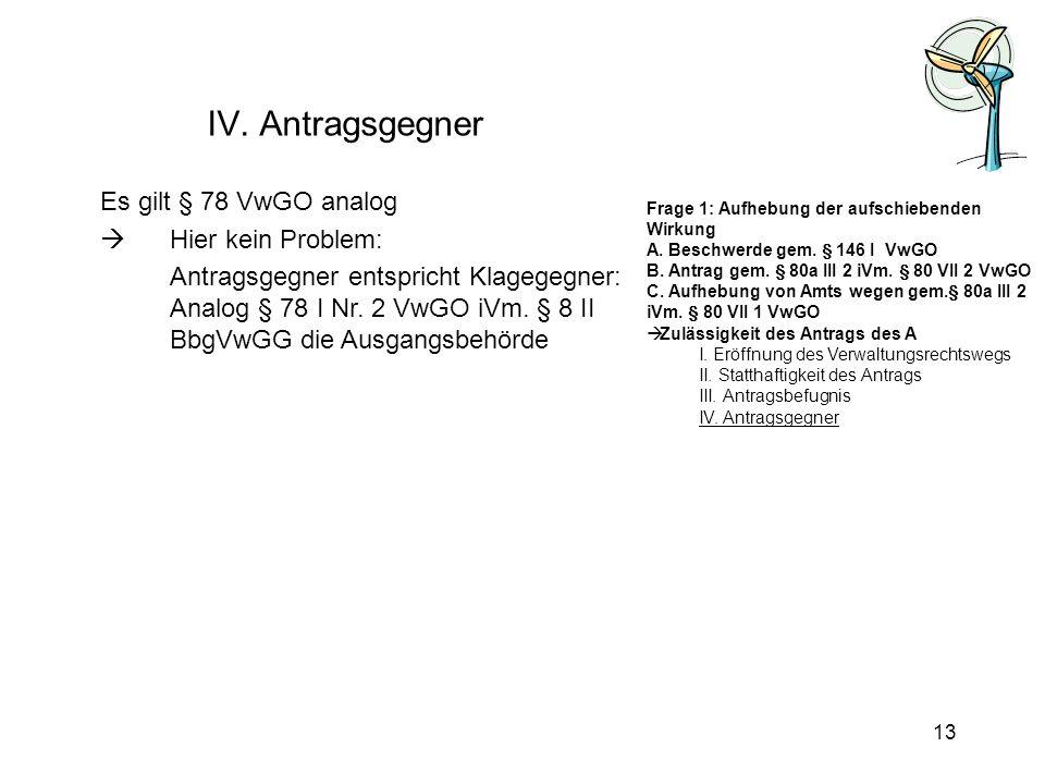 IV. Antragsgegner Es gilt § 78 VwGO analog Hier kein Problem: