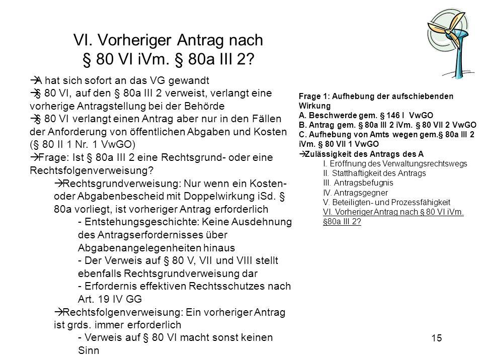 VI. Vorheriger Antrag nach § 80 VI iVm. § 80a III 2