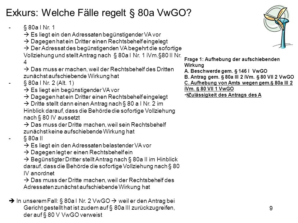 Exkurs: Welche Fälle regelt § 80a VwGO