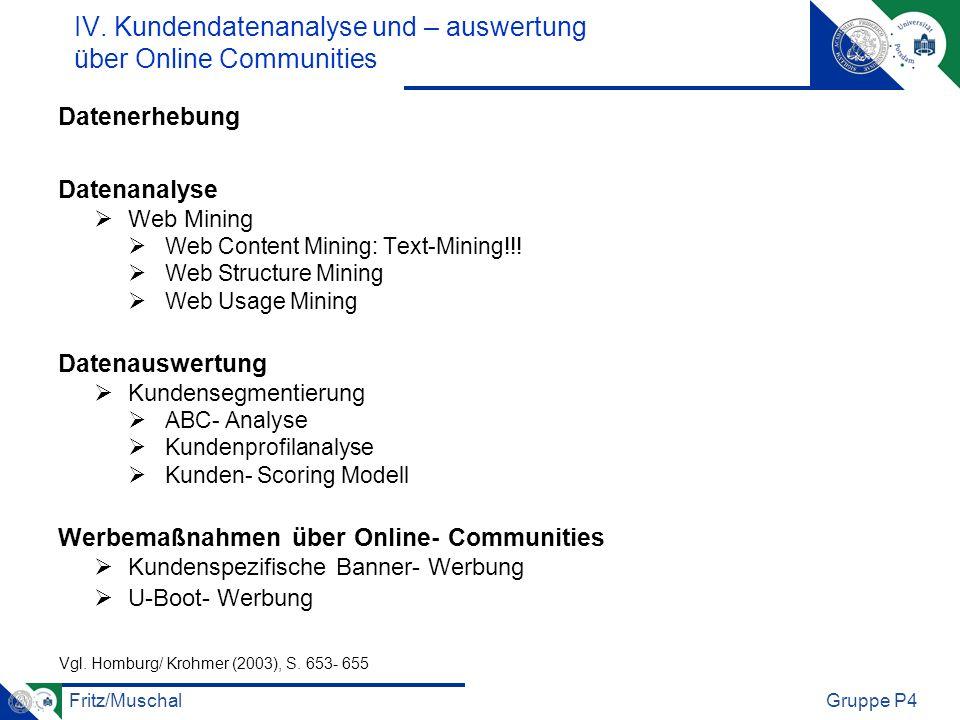 IV. Kundendatenanalyse und – auswertung über Online Communities