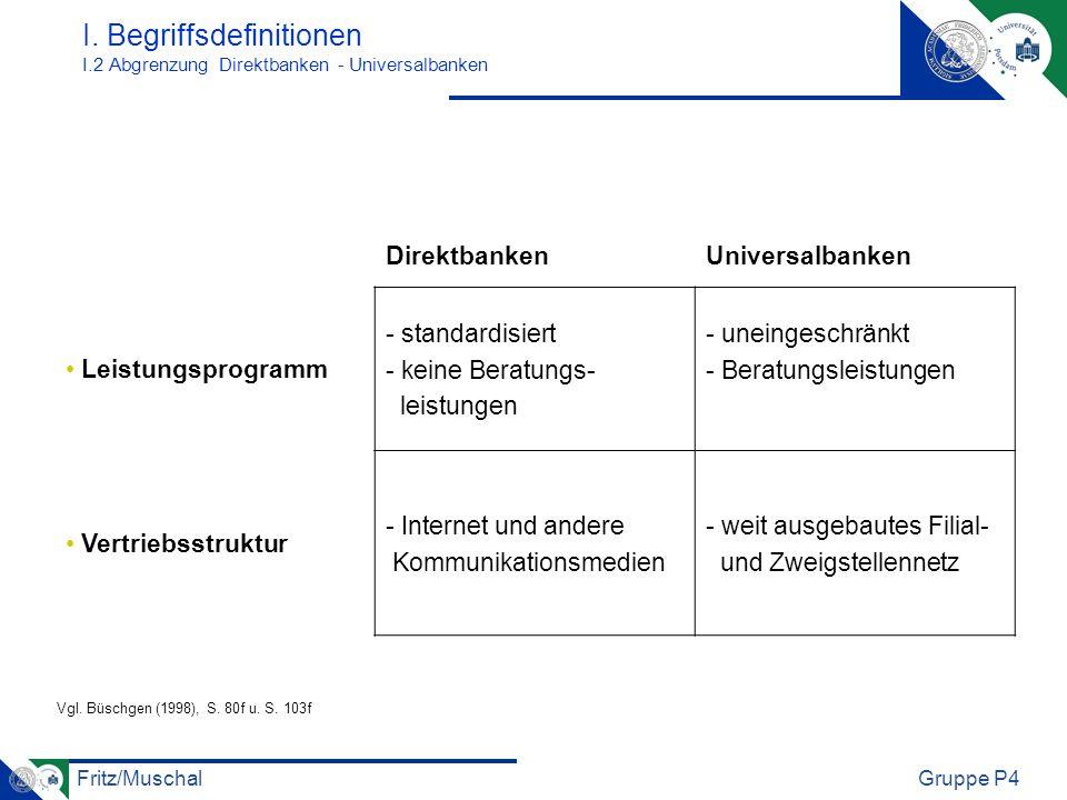 I. Begriffsdefinitionen I.2 Abgrenzung Direktbanken - Universalbanken