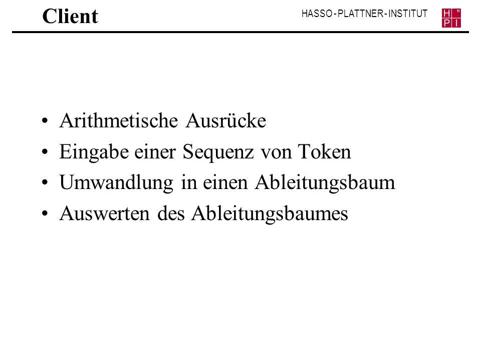 Client Arithmetische Ausrücke. Eingabe einer Sequenz von Token. Umwandlung in einen Ableitungsbaum.