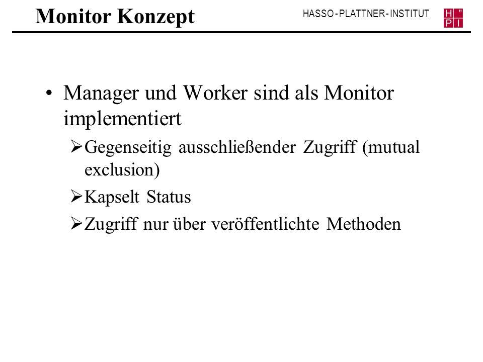 Manager und Worker sind als Monitor implementiert