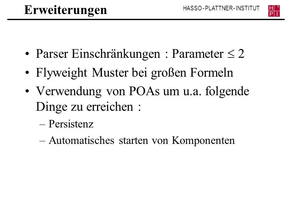 Parser Einschränkungen : Parameter  2