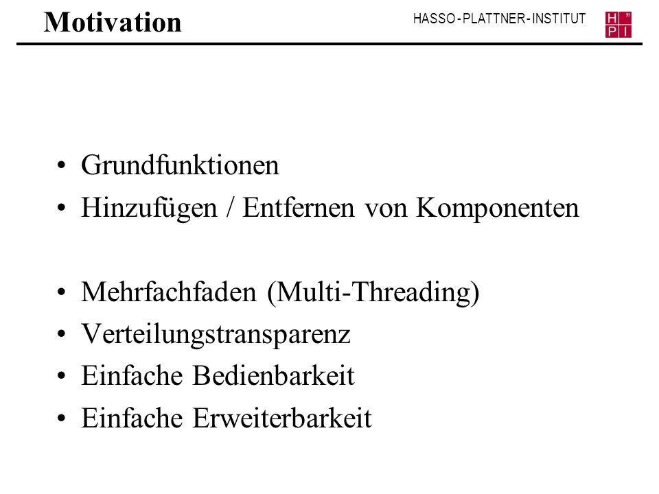 Motivation Grundfunktionen. Hinzufügen / Entfernen von Komponenten. Mehrfachfaden (Multi-Threading)