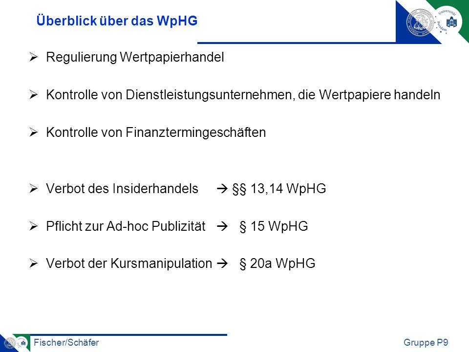 Überblick über das WpHG