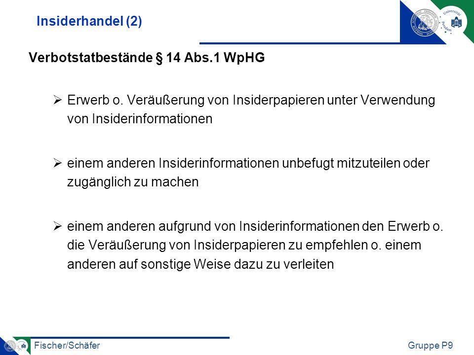 Insiderhandel (2) Verbotstatbestände § 14 Abs.1 WpHG. Erwerb o. Veräußerung von Insiderpapieren unter Verwendung von Insiderinformationen.