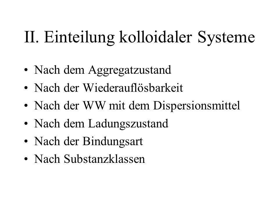 II. Einteilung kolloidaler Systeme