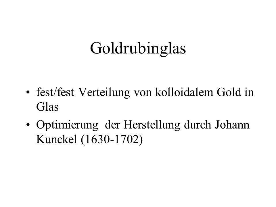 Goldrubinglas fest/fest Verteilung von kolloidalem Gold in Glas