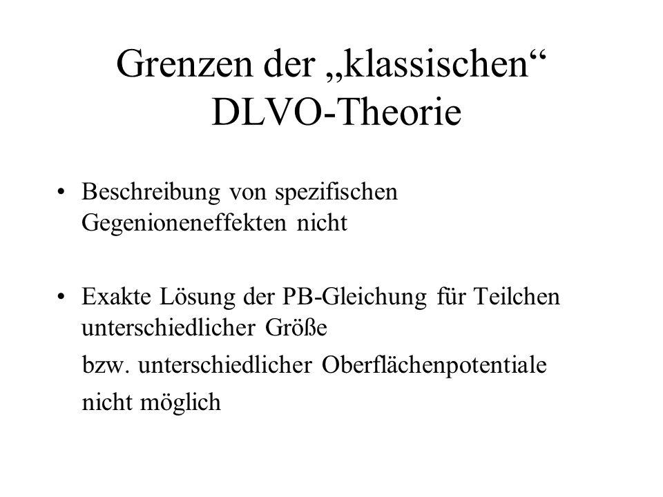 """Grenzen der """"klassischen DLVO-Theorie"""
