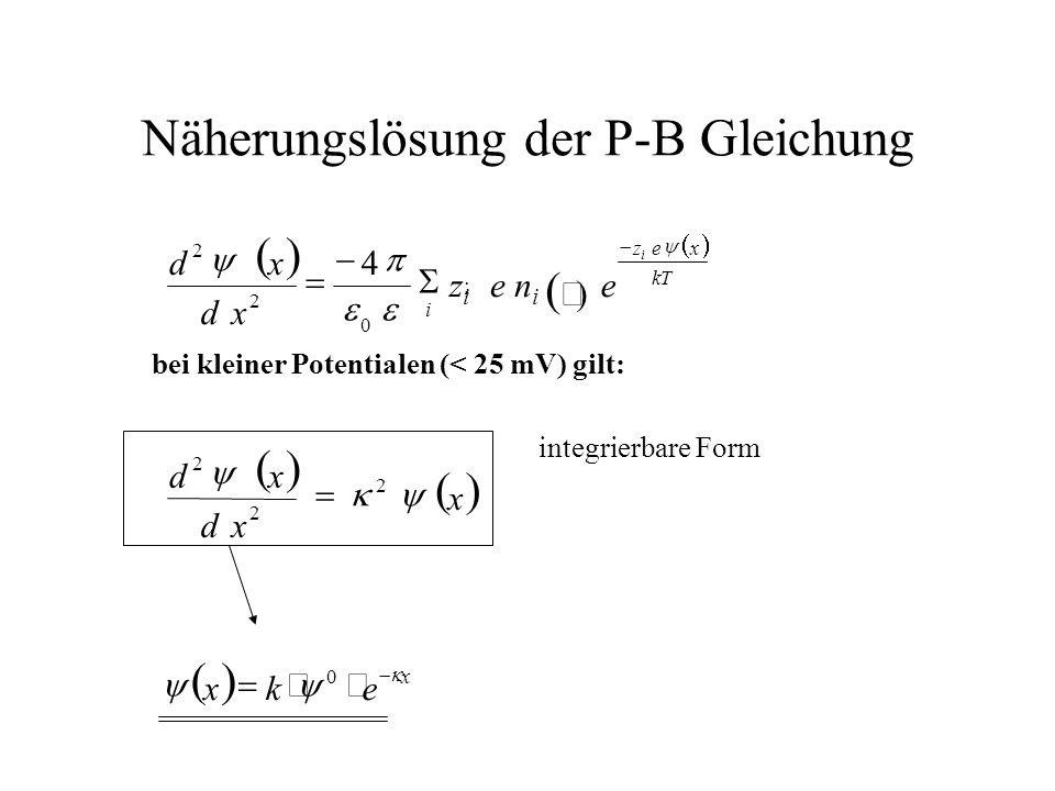 Näherungslösung der P-B Gleichung