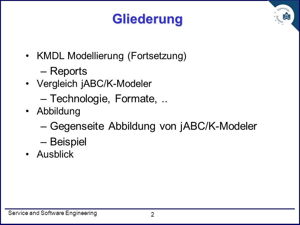 Gliederung Reports Technologie, Formate, ..