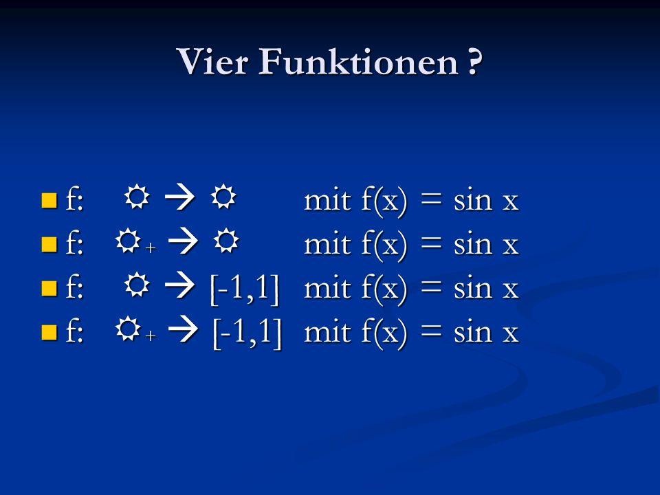 Vier Funktionen f: R  R mit f(x) = sin x f: R+  R mit f(x) = sin x