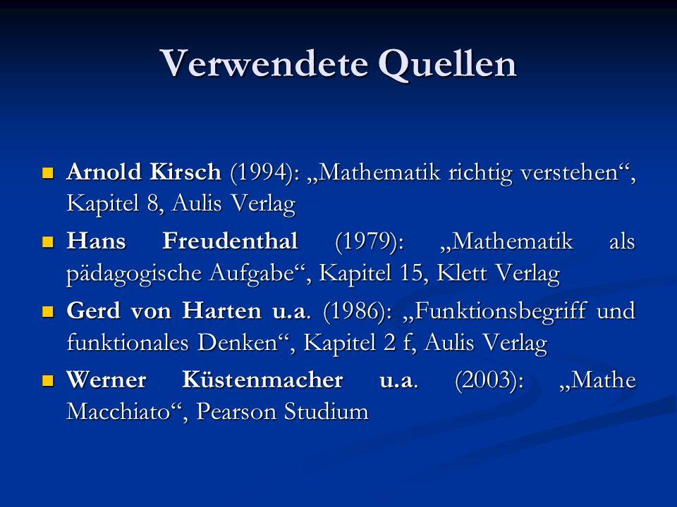 """Verwendete Quellen Arnold Kirsch (1994): """"Mathematik richtig verstehen , Kapitel 8, Aulis Verlag."""