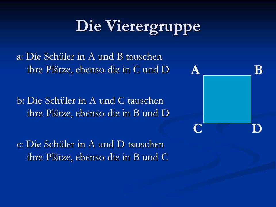 Die Vierergruppea: Die Schüler in A und B tauschen ihre Plätze, ebenso die in C und D.