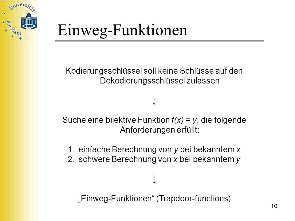 """""""Einweg-Funktionen (Trapdoor-functions)"""