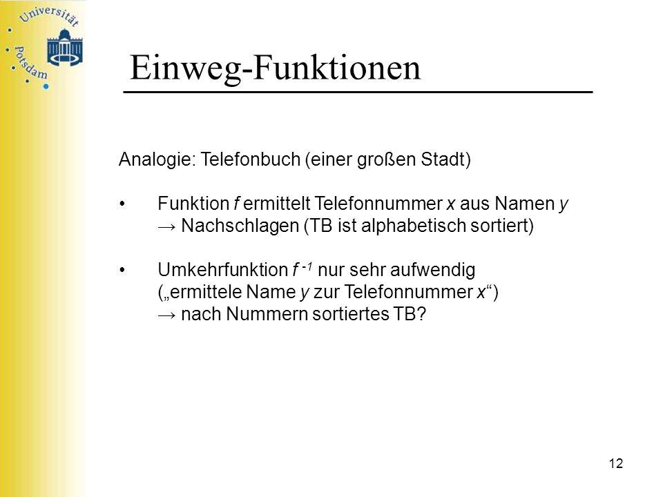 Einweg-Funktionen Analogie: Telefonbuch (einer großen Stadt)
