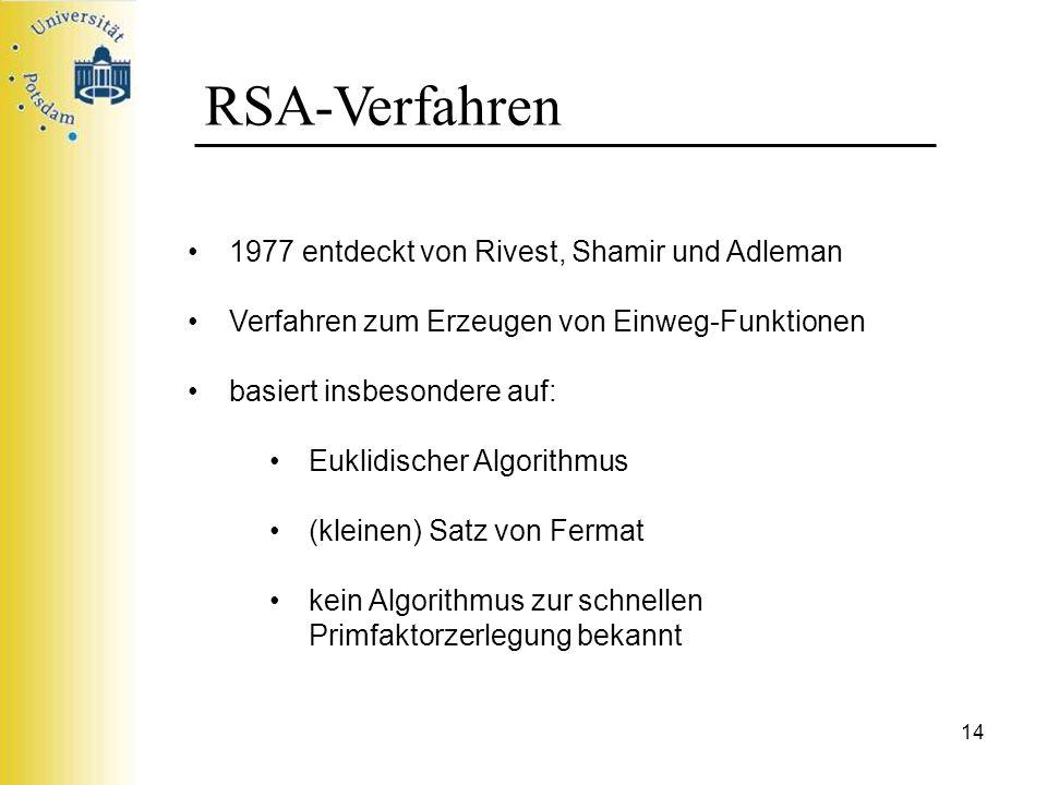 RSA-Verfahren 1977 entdeckt von Rivest, Shamir und Adleman