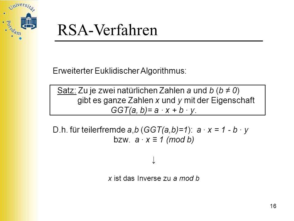 x ist das Inverse zu a mod b