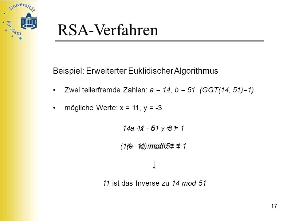 RSA-Verfahren Beispiel: Erweiterter Euklidischer Algorithmus ↓