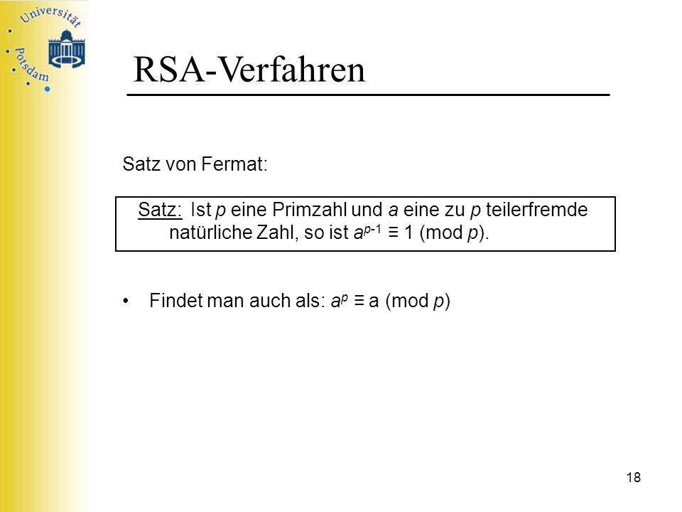 RSA-Verfahren Satz von Fermat: