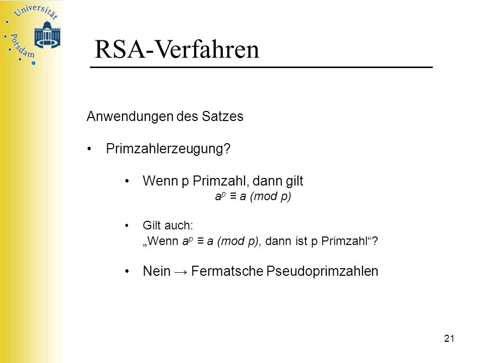 RSA-Verfahren Anwendungen des Satzes Primzahlerzeugung