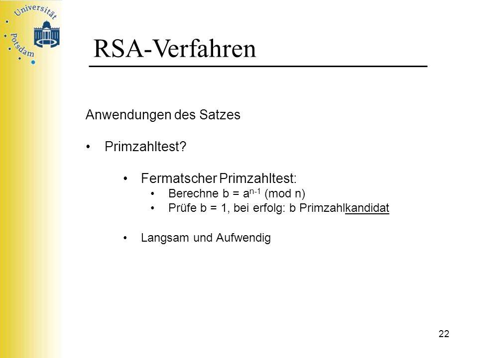 RSA-Verfahren Anwendungen des Satzes Primzahltest