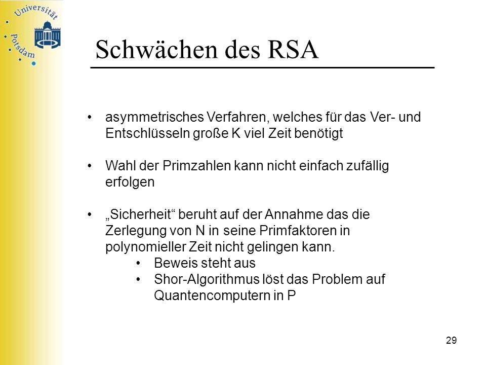 Schwächen des RSA asymmetrisches Verfahren, welches für das Ver- und Entschlüsseln große K viel Zeit benötigt.
