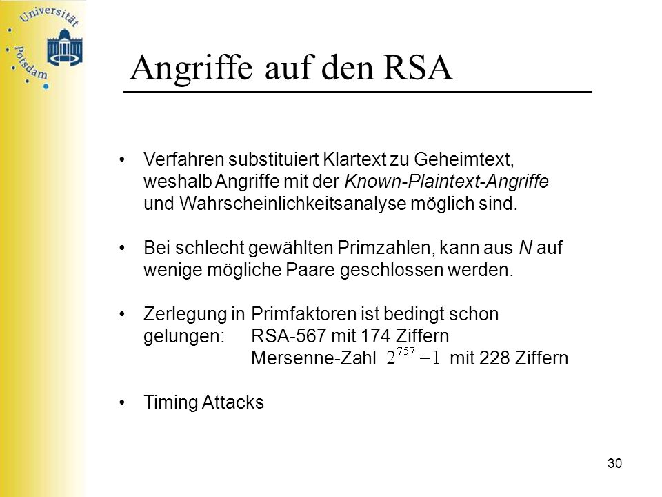 Angriffe auf den RSA
