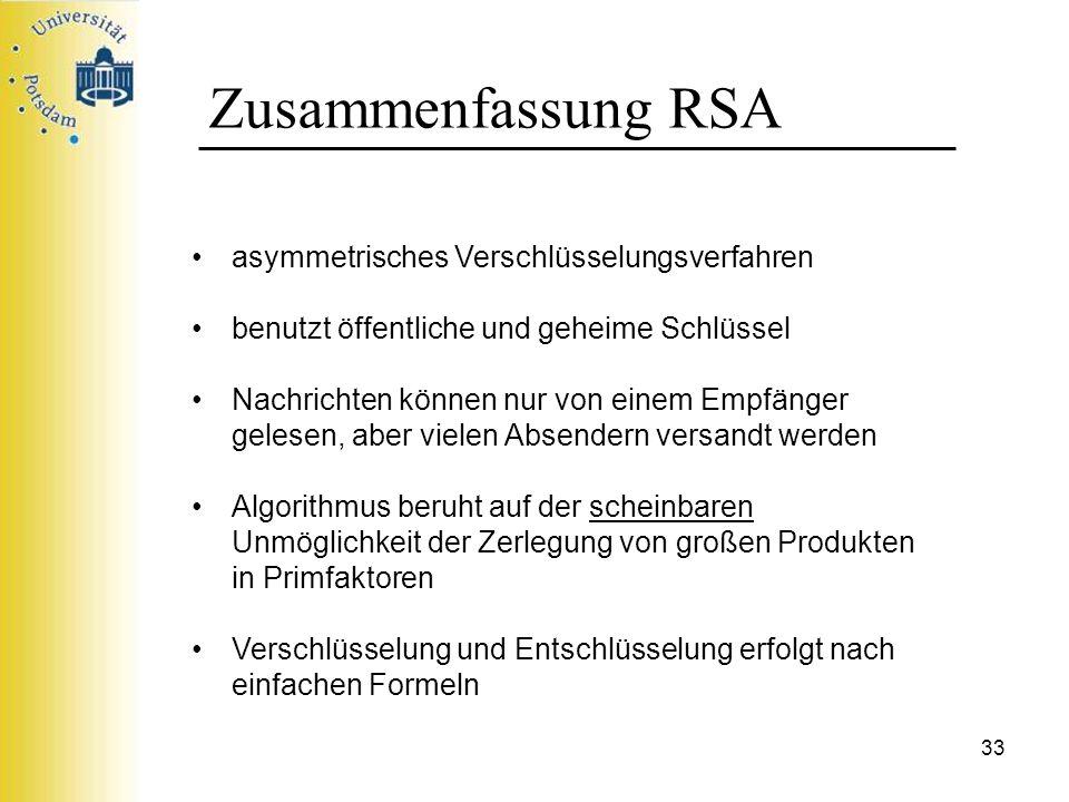 Zusammenfassung RSA asymmetrisches Verschlüsselungsverfahren