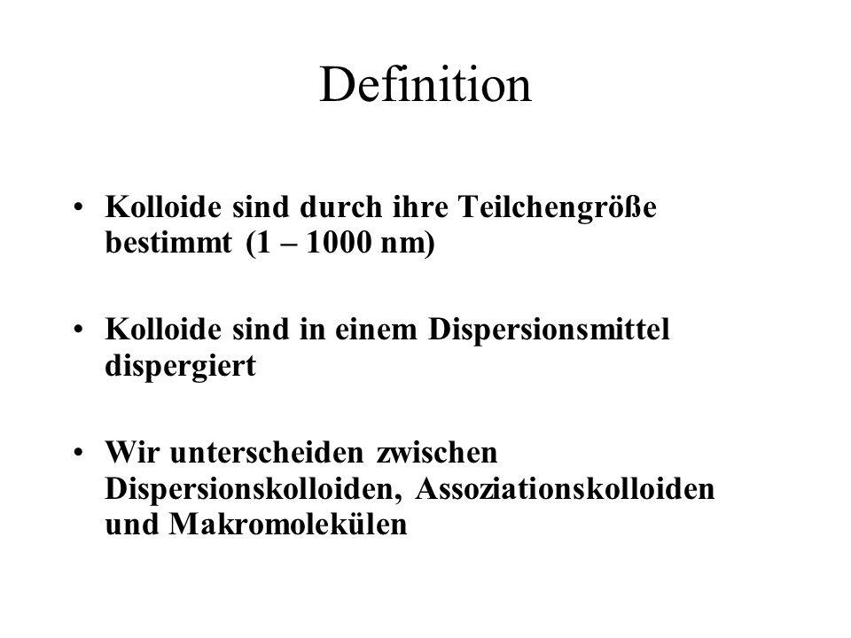 Definition Kolloide sind durch ihre Teilchengröße bestimmt (1 – 1000 nm) Kolloide sind in einem Dispersionsmittel dispergiert.