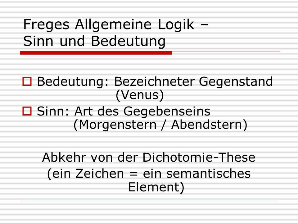 Freges Allgemeine Logik – Sinn und Bedeutung